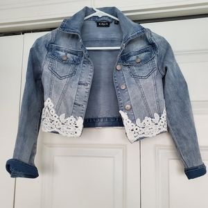 Jean Jacket with lace detail - Girls size 7/8